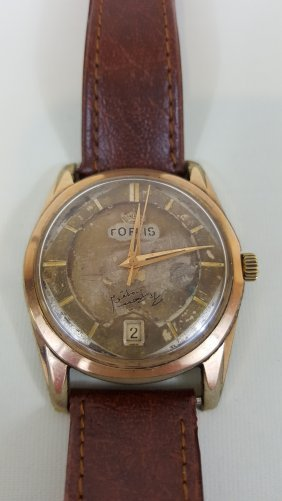 A Vintage Fortis Watch In Gold, Automatic Mechanical