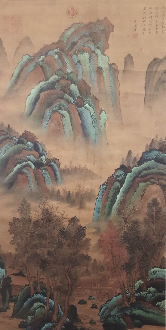 A Chinese painting of landscape hanging scroll