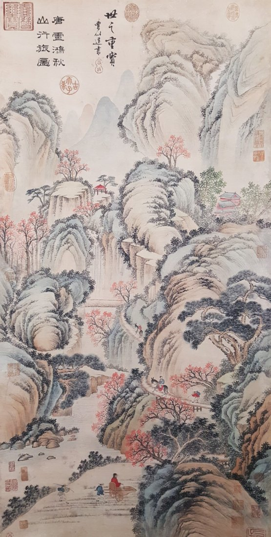 An original Chinese hand painted hanging scroll scenery