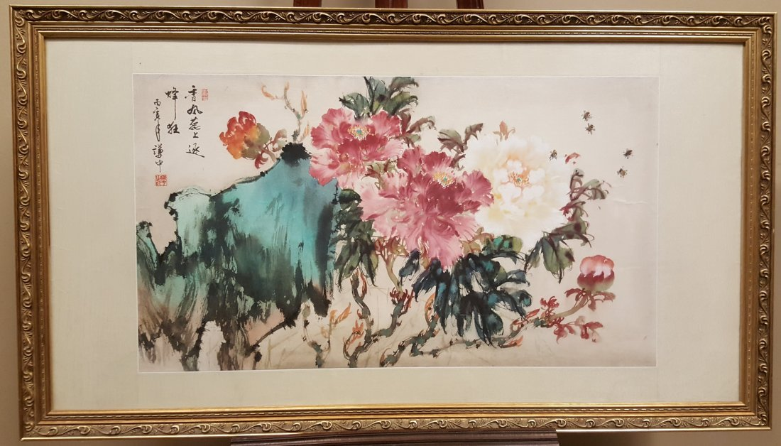 An original watercolor large painting of flowers and