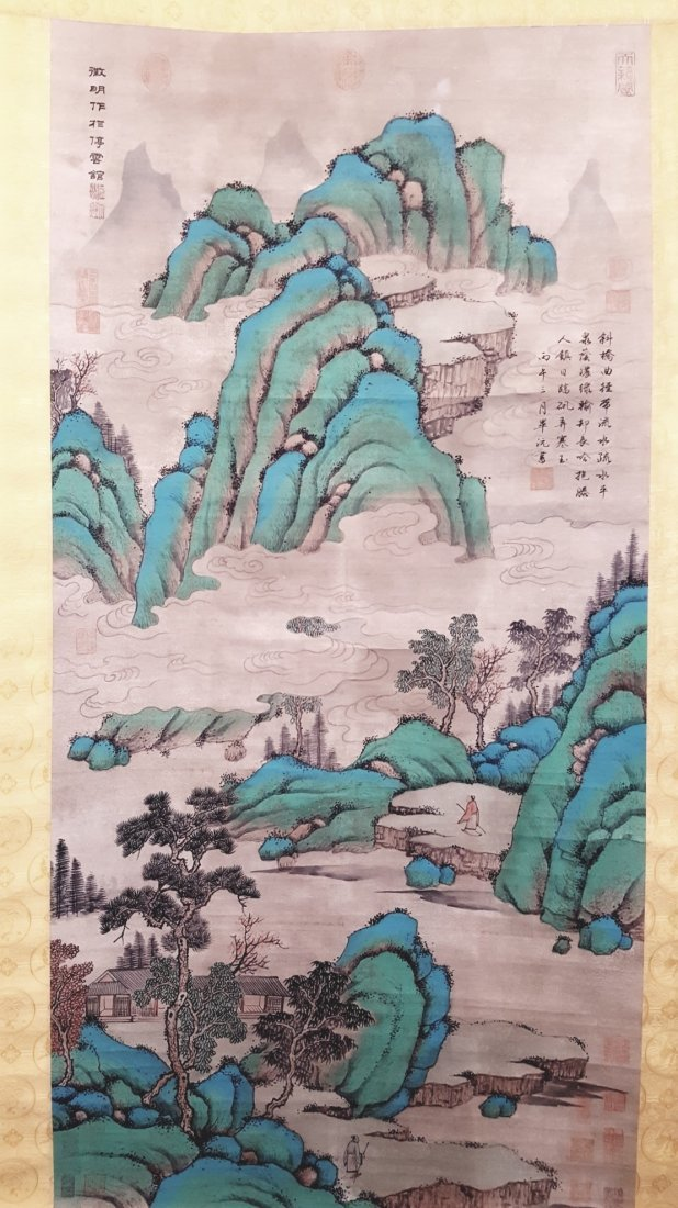An original Chinese hand painted hanging scroll village