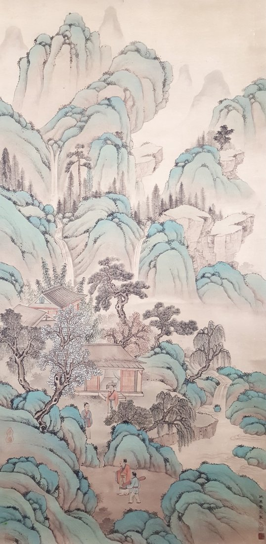 A Chinese Hand Painting Hanging Scroll Village Scenery