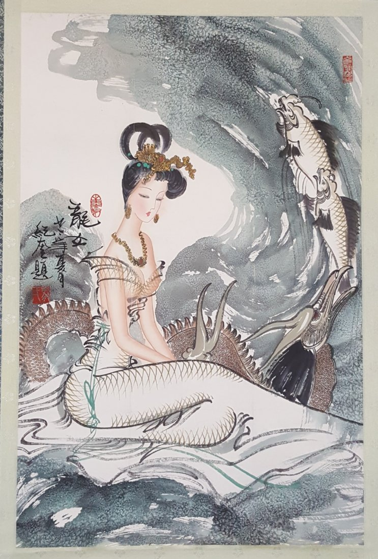 A Chinese Hand Painting of Mermaid Hanging Scroll