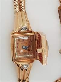 Ladies Lucien Piccard art deco 14k rose gold diamond