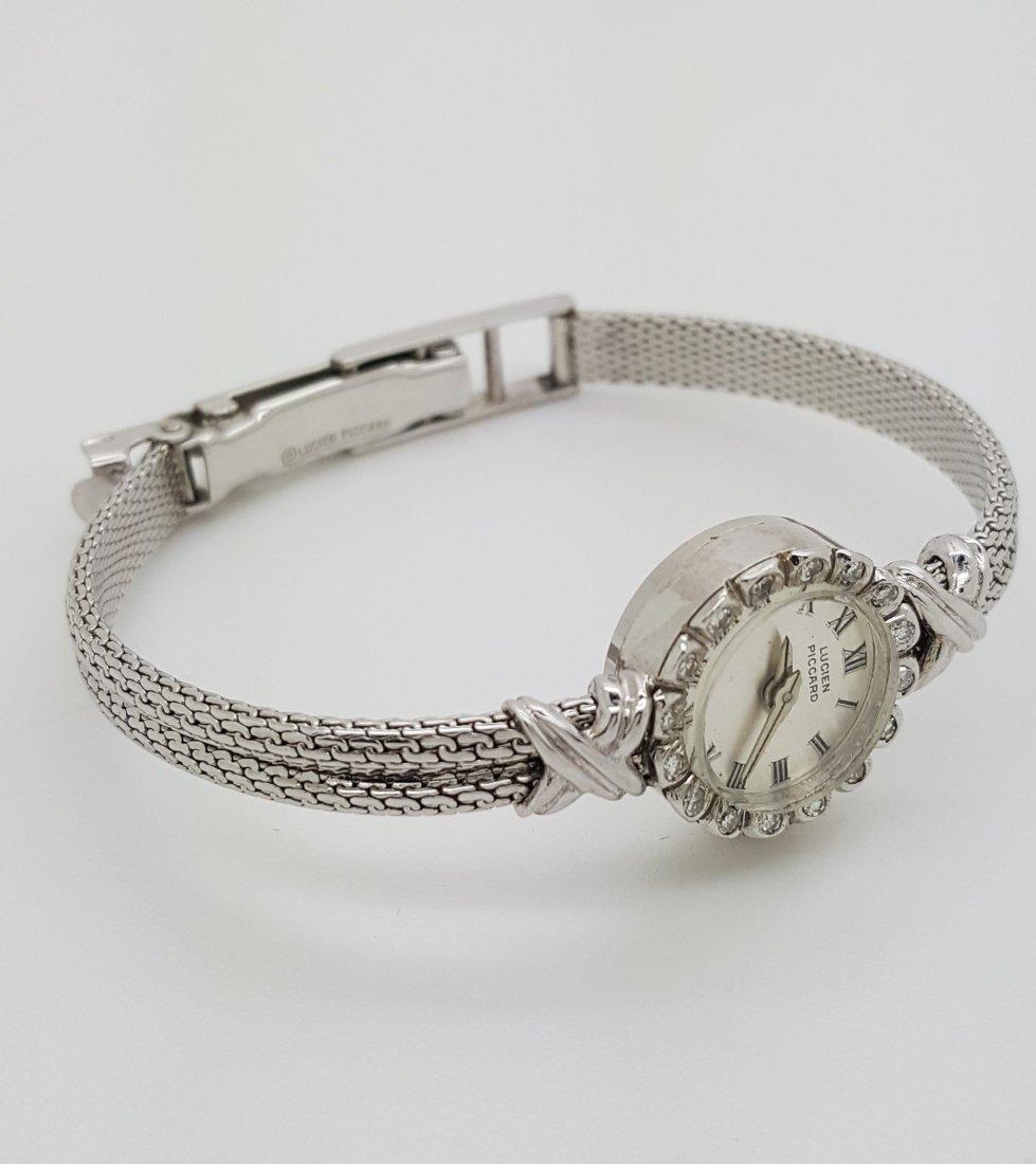 A vintage Lucien Piccard 14k ladies diamond wrist watch - 3