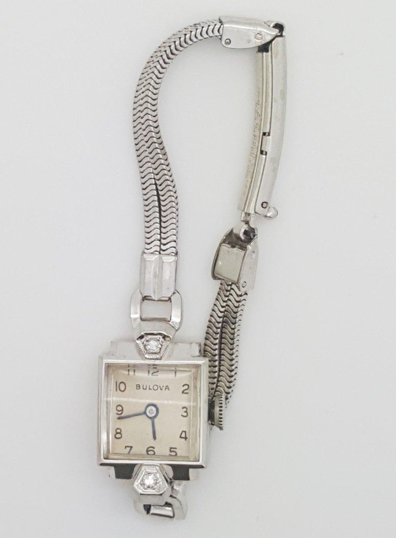 A Bulova 14k white gold ladies 30's vintage wrist watch