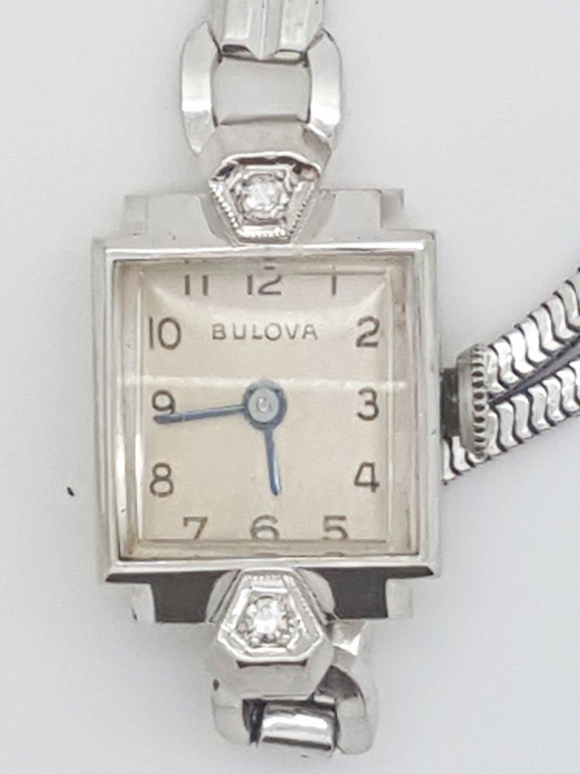 A Bulova 14k white gold ladies 30's vintage wrist watch - 2
