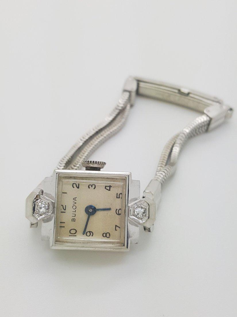 A Bulova 14k white gold ladies 30's vintage wrist watch - 3