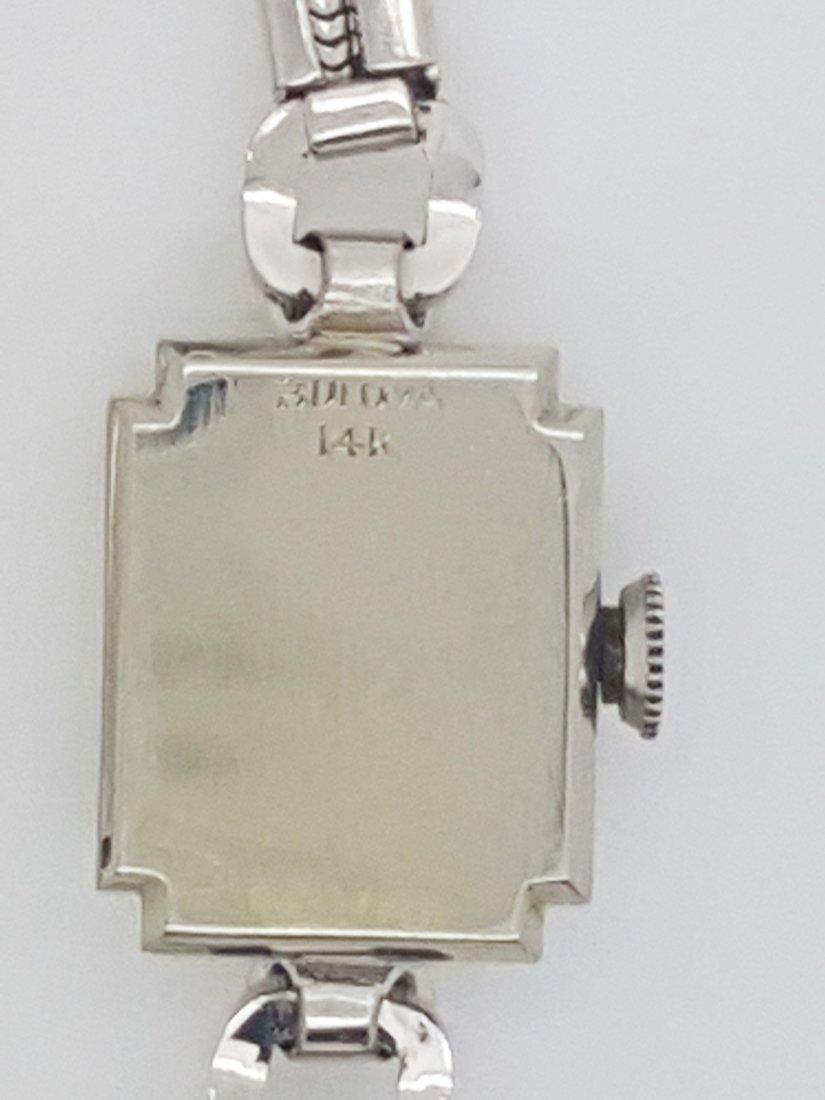 A Bulova 14k white gold ladies 30's vintage wrist watch - 4