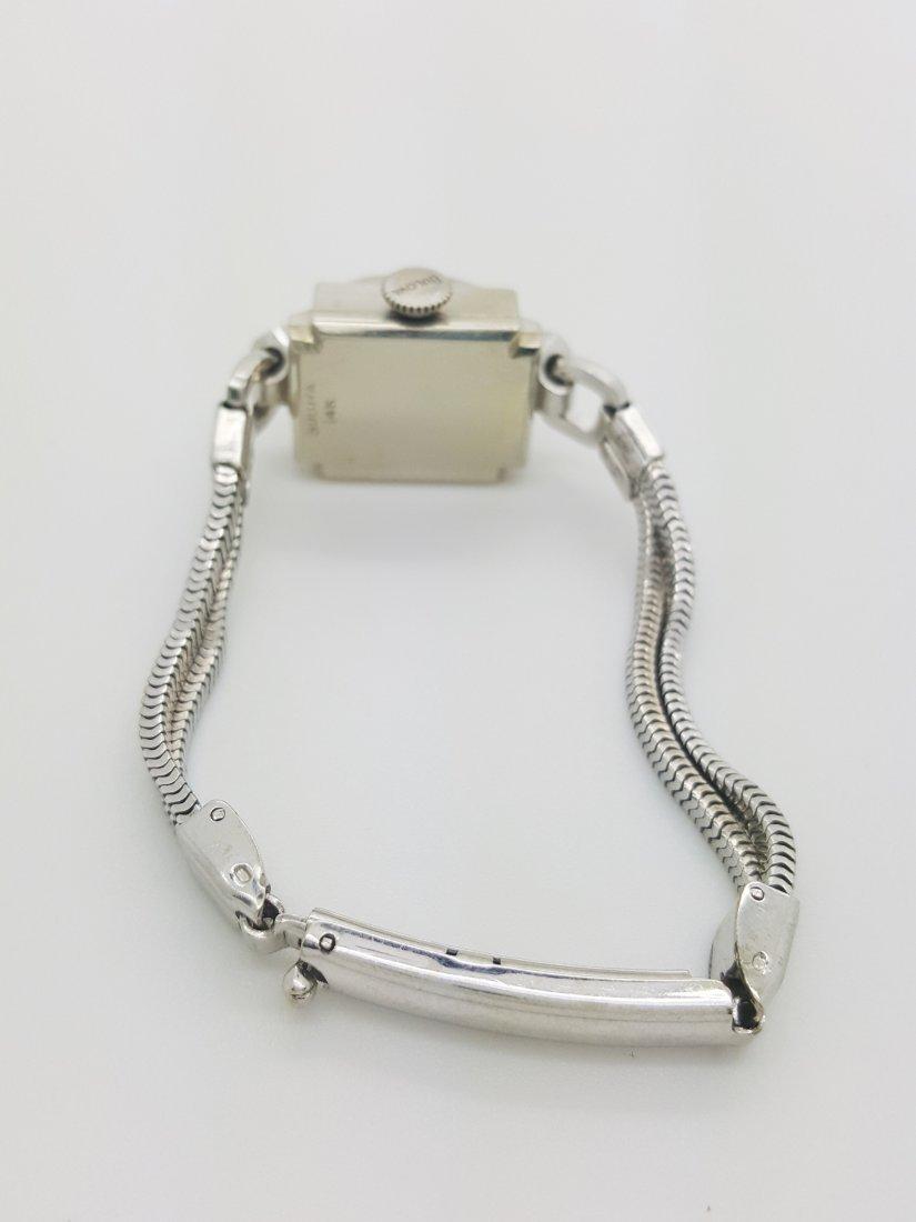 A Bulova 14k white gold ladies 30's vintage wrist watch - 5