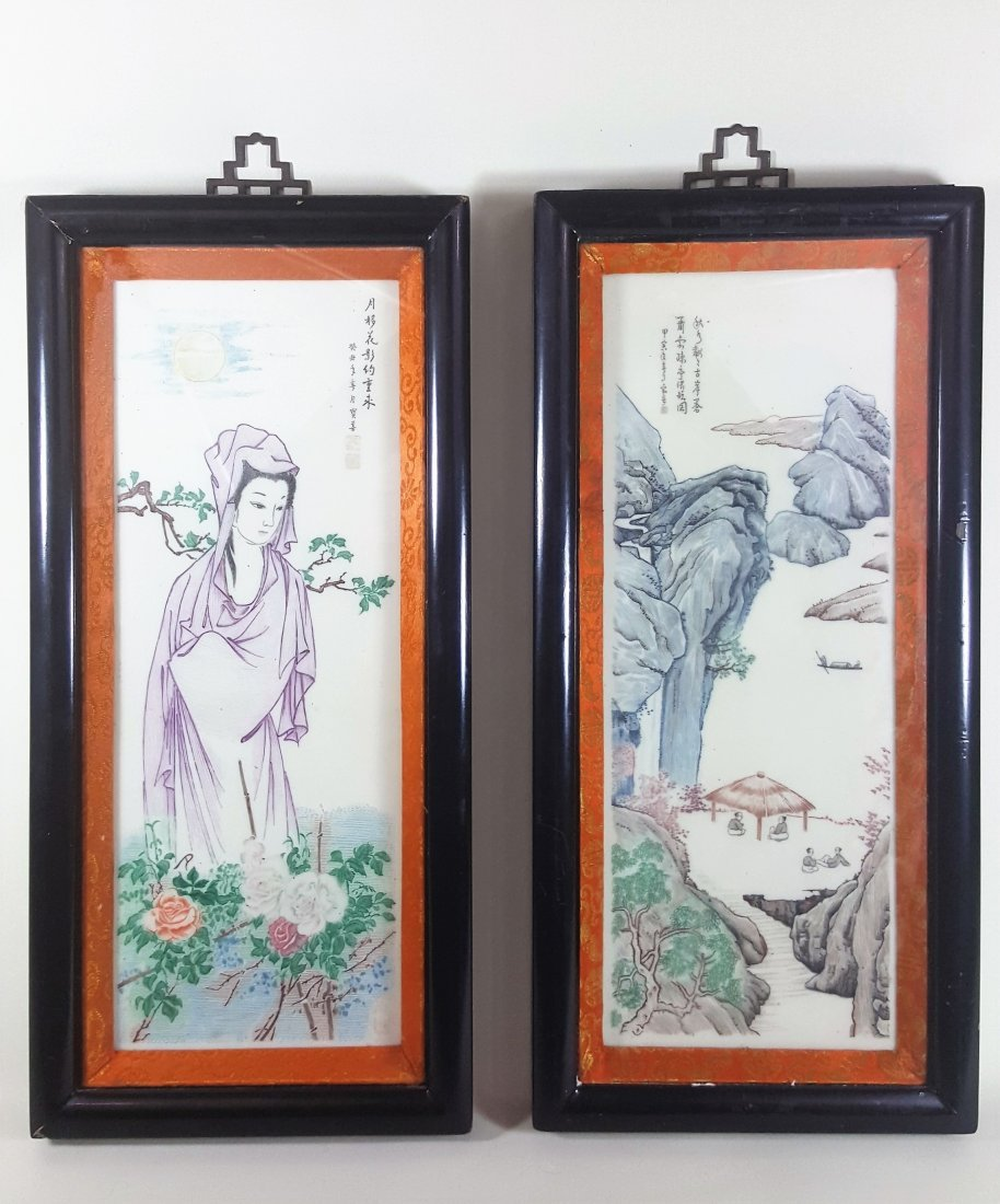 A pair of original Chinese framed oil on porcelain by