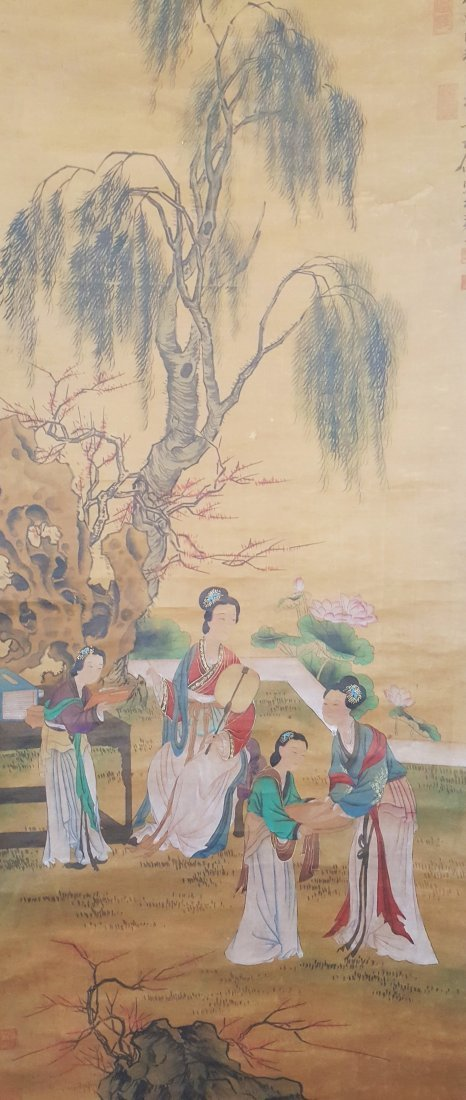 A Chinese long scroll painting of four beauties on rice