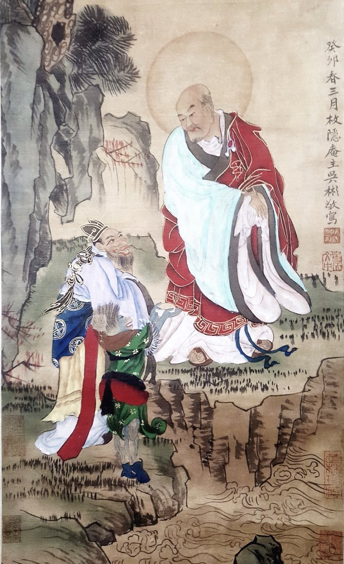 A Chinese original painting scroll of Lohan and Arhats