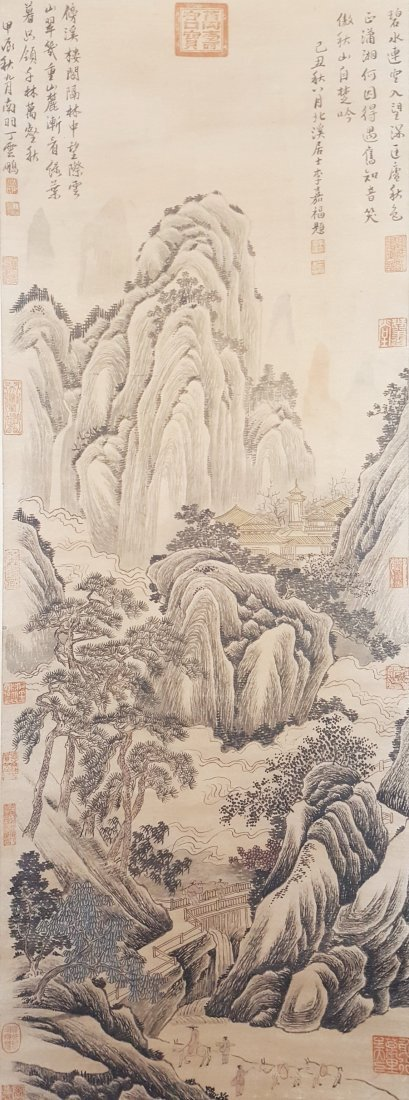 A vintage Chinese water color scroll painting of