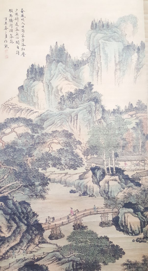 A vintage Chinese water color on rice paper hanging