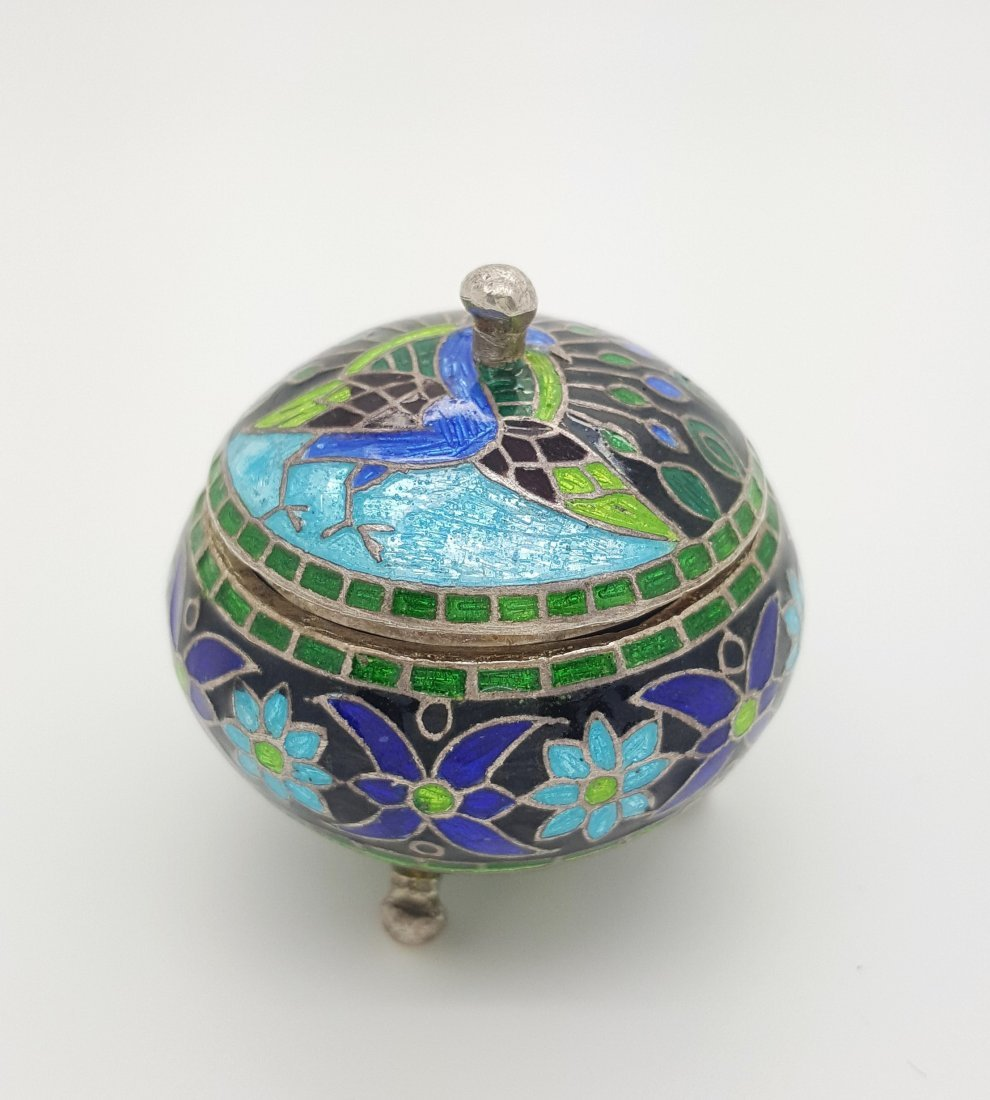 A small cloisonn' (champlev') container with lid