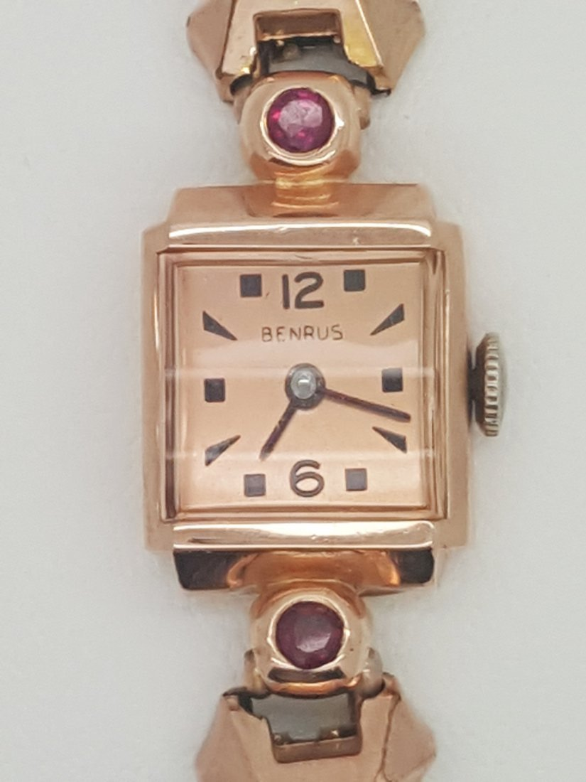 A vintage Benrus solid 14K rose gold ladies wrist watch