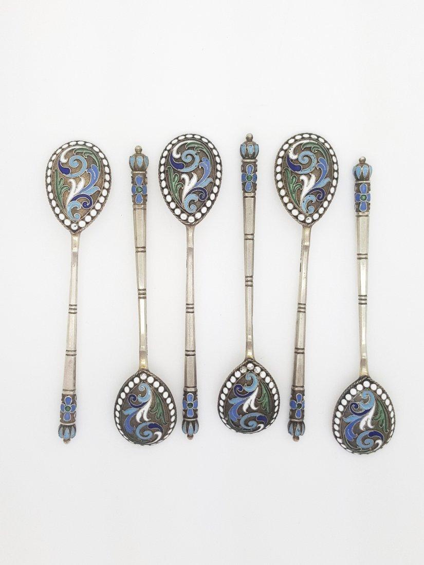 A 19th century Russian cloisonne' enamel silver spoons