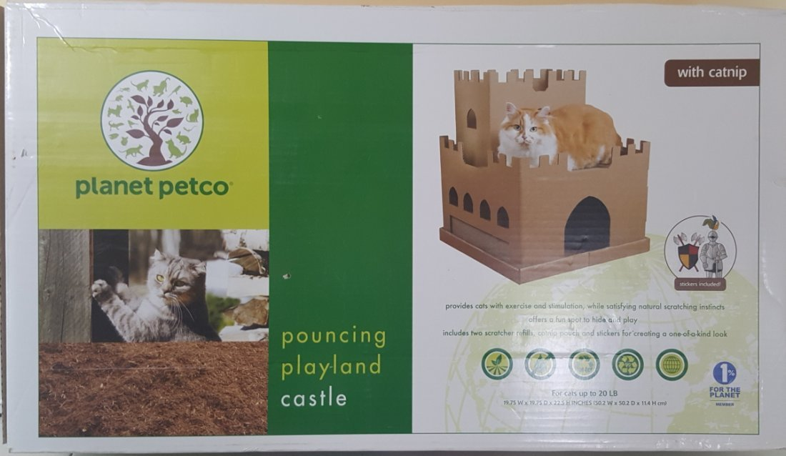 Corrugated Cat Castle with Scratcher