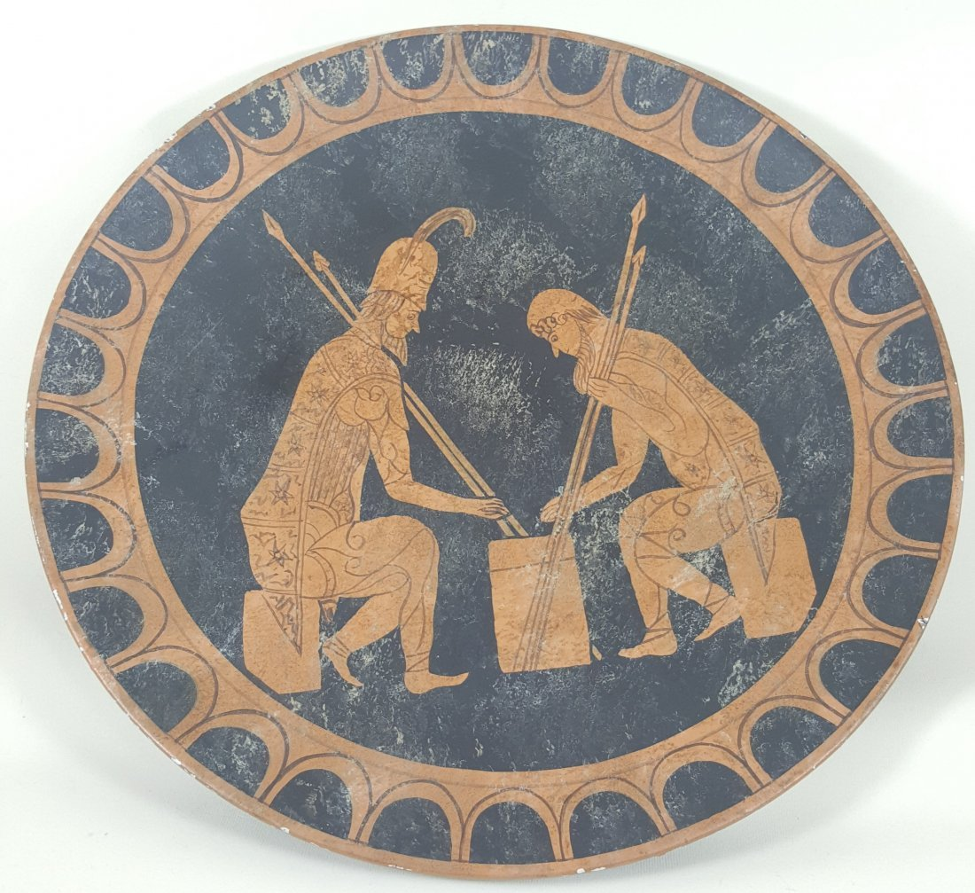 A pottery plate with ancient Greece motive