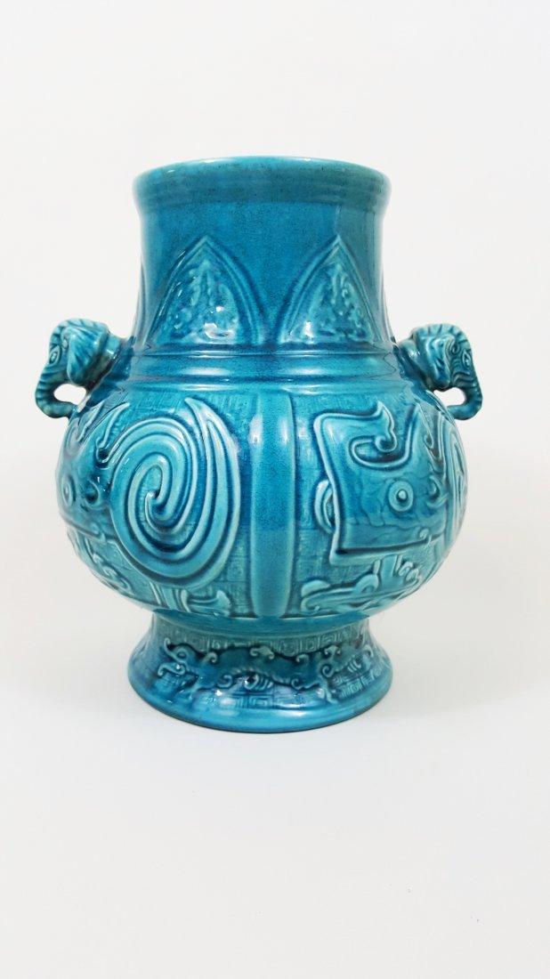 A Turquoise Glazed Hu Elephant Vase