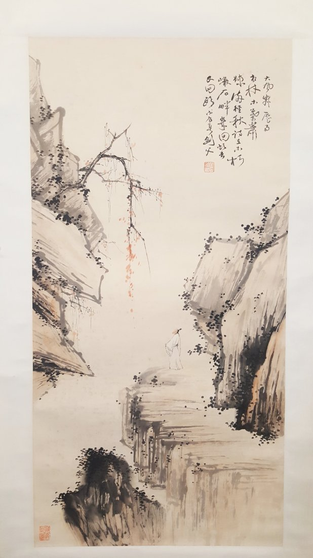 An original hand painted watercolor scroll of scenery
