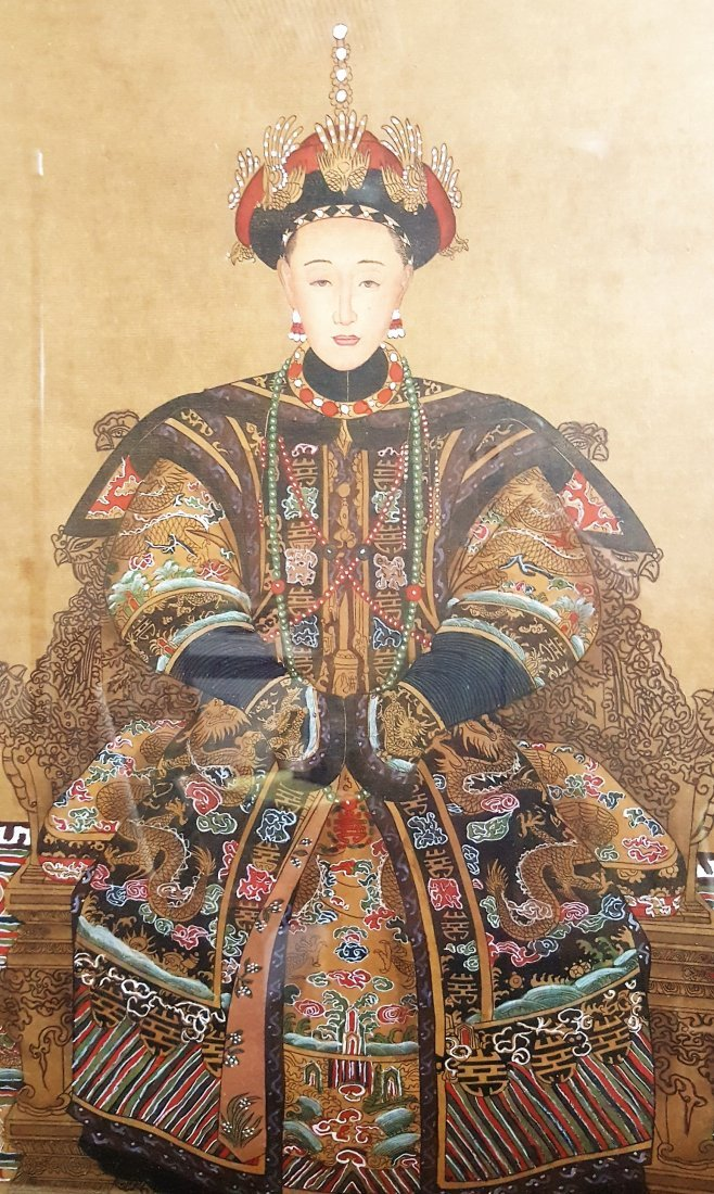 A vintage framed painting of Empress Dowager Cixi, Qing