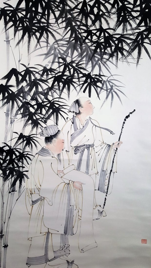 An original Chinese scroll hand painting young monks