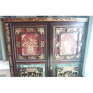 1: Pr Chinese red & gilt lacquer cabinets