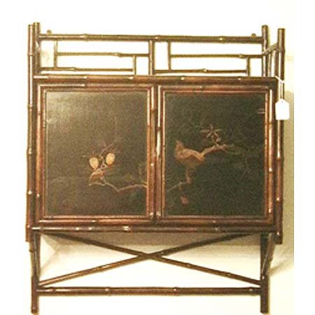 5: Edwardian lacquer bamboo hanging cabinet