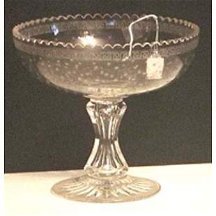 Colorless etched and cut glass centerbowl