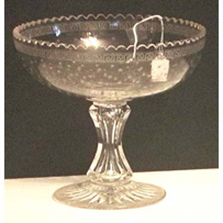 12: Colorless etched and cut glass centerbowl