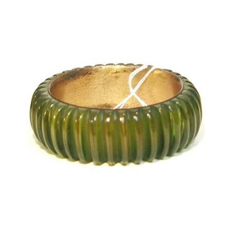 13: Translucent green & brass Bakelite bangle