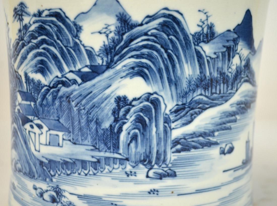 Chinese Blue & White Brush Pot - 2