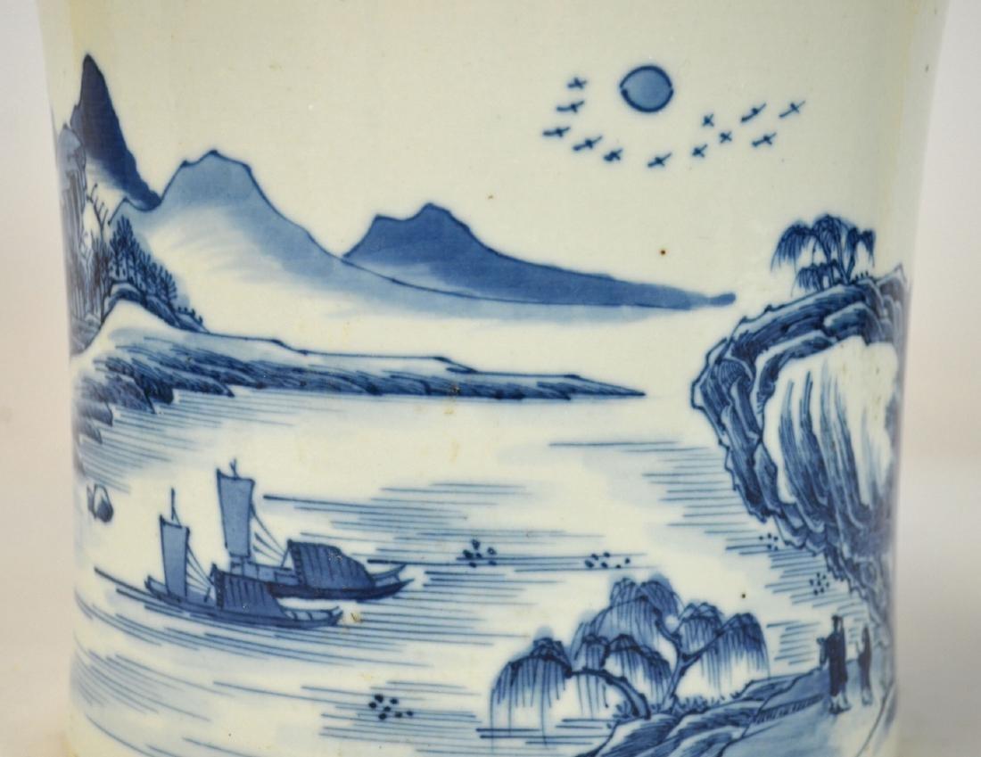 Chinese Blue & White Brush Pot - 3