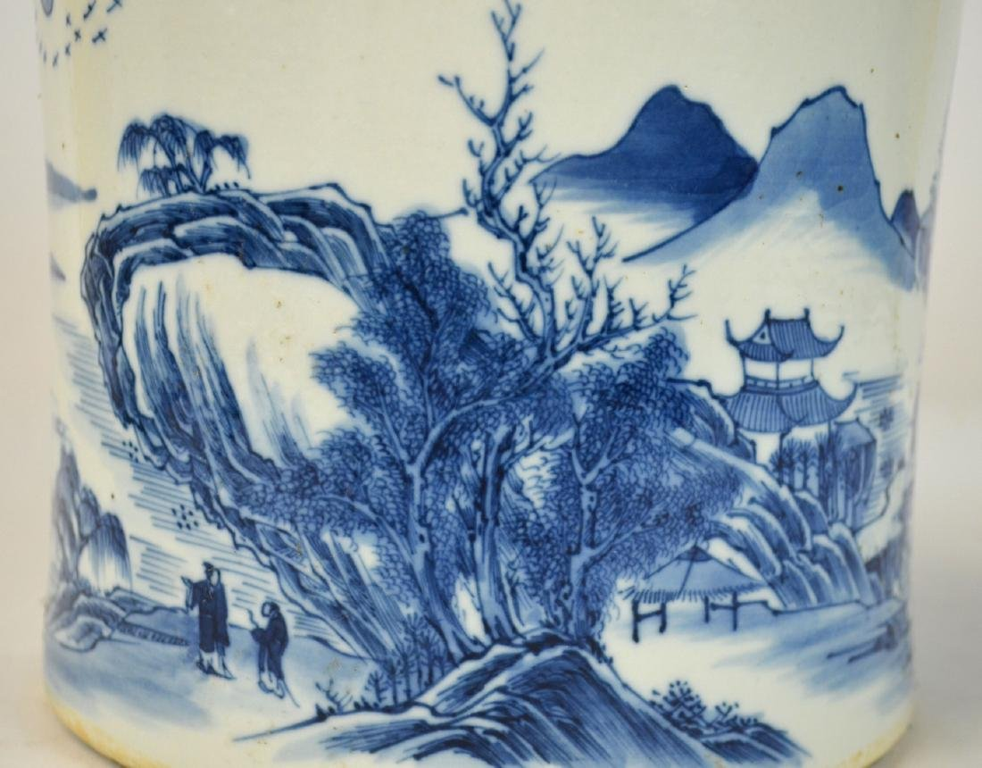Chinese Blue & White Brush Pot - 4