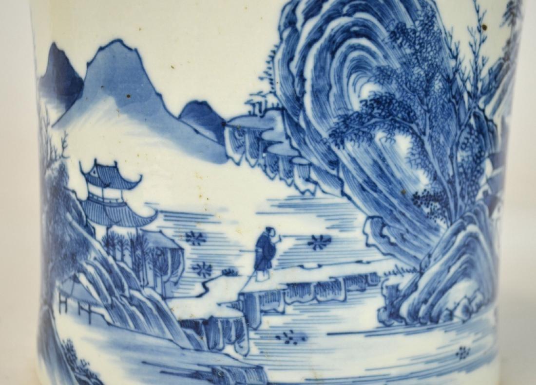 Chinese Blue & White Brush Pot - 5