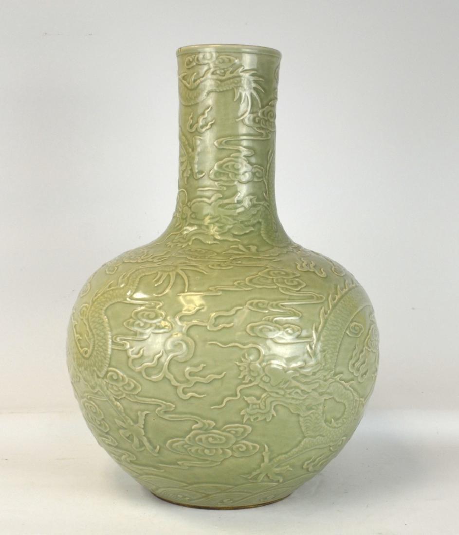 Large Chinese Celadon Glazed Bottle Vase