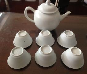 Set Of  White Glazed Six Cups & Teapot
