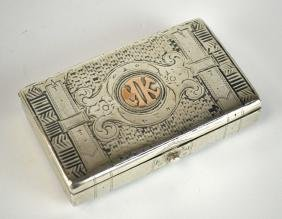 Russian Niello Silver Gold Wash Long Box ?