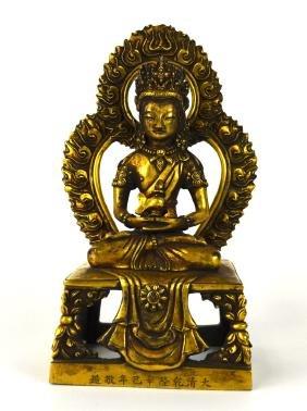 Qing. Chinese Gilt Bronze Buddha Figure