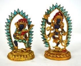 Two Chinese Gilt Bronze Buddha W. Turquoise/ Lapis