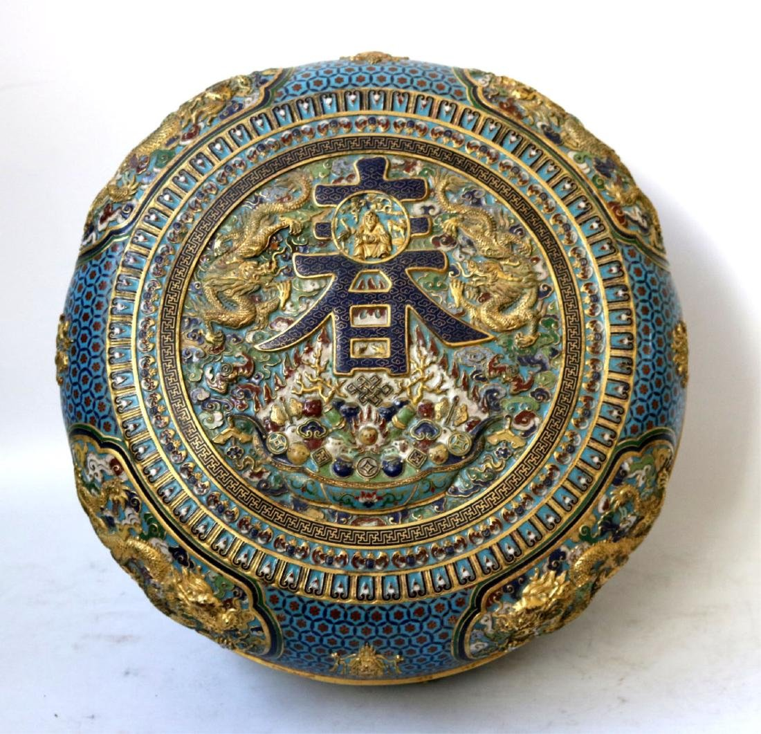 Large Chinese Cloisonne Covered Round Box