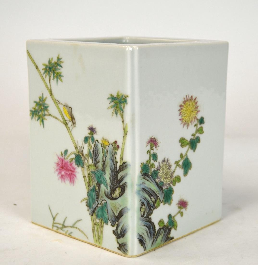Chinese Famille Rose Square Brush Pot
