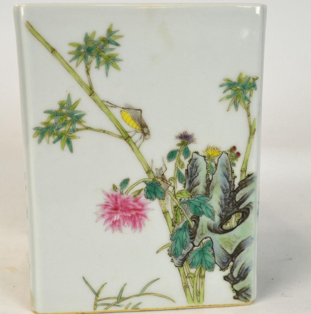 Chinese Famille Rose Square Brush Pot - 2