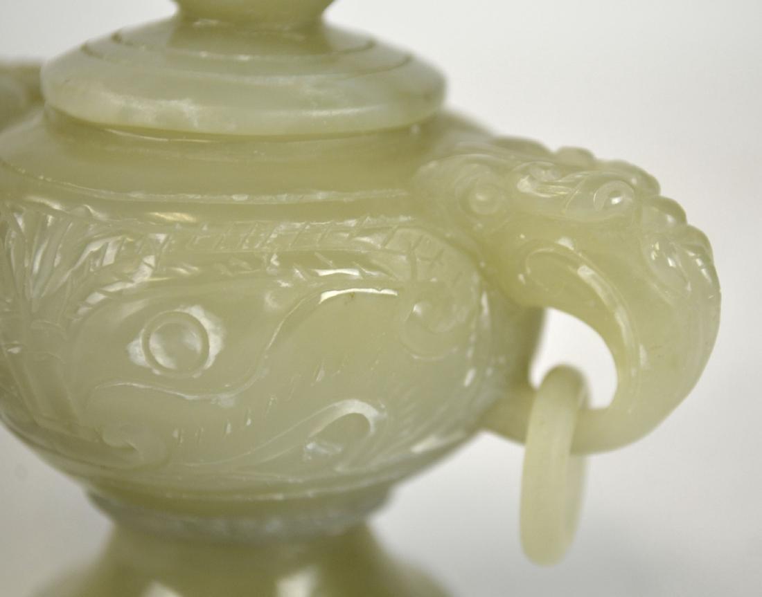 Chinese Carved Jade Covered Censer - 2