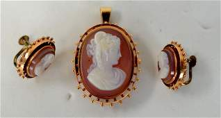 14K Gold Cameo Agate Pin  Earrings Set
