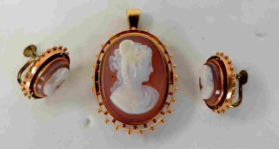 14K Gold Cameo Agate Pin & Earrings Set