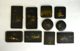 Ten Japanese Mix Metal Black Lacquered Boxes