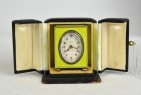 Yellow Green Enamel On Silver Miniature Clock